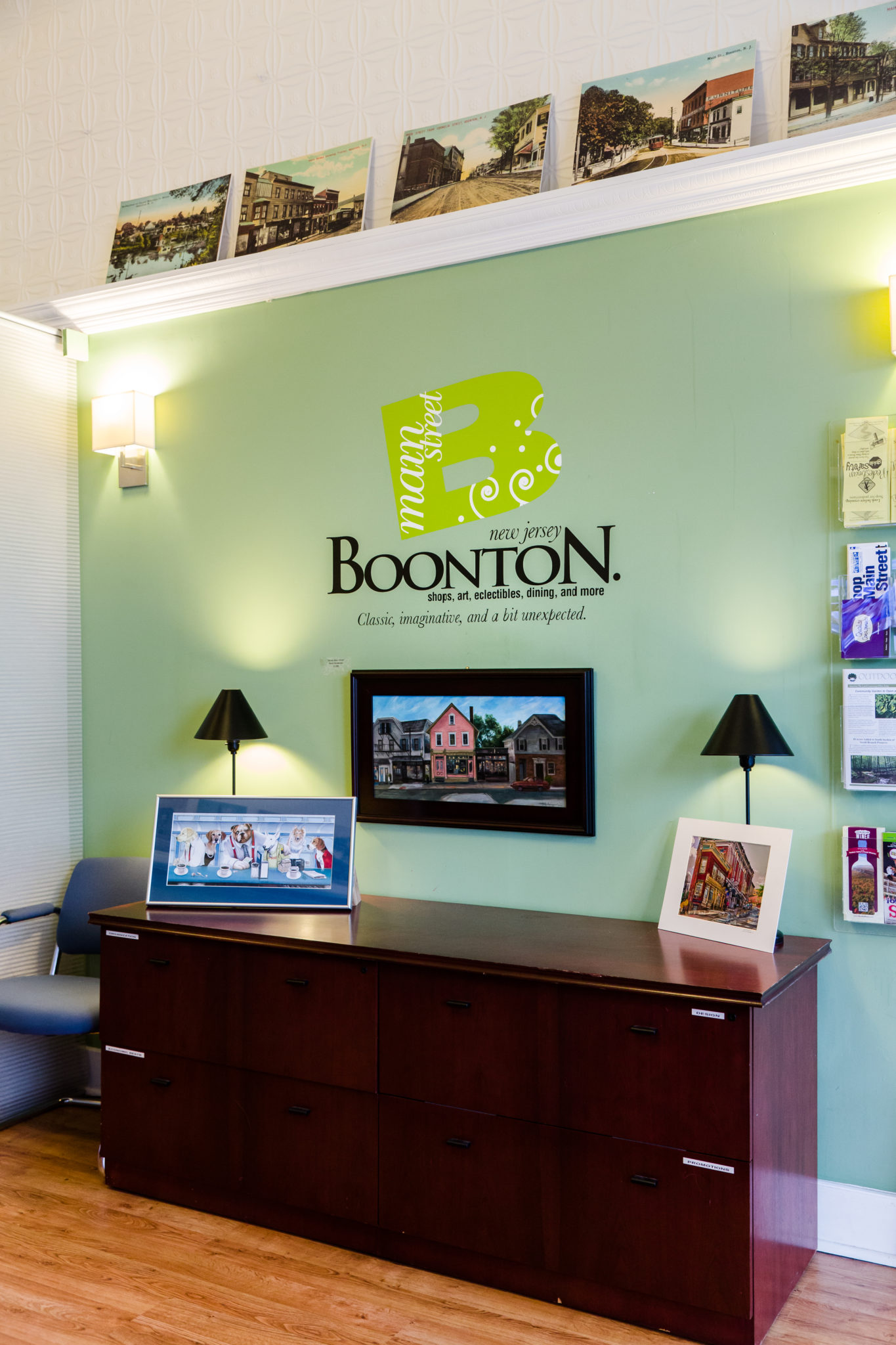 Boonton Main Street office with logo on wall