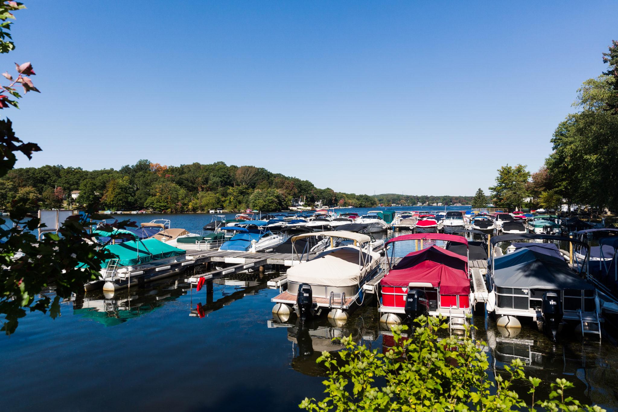 boats lined up at dock at Bridge Marina, Lake Hopatcong