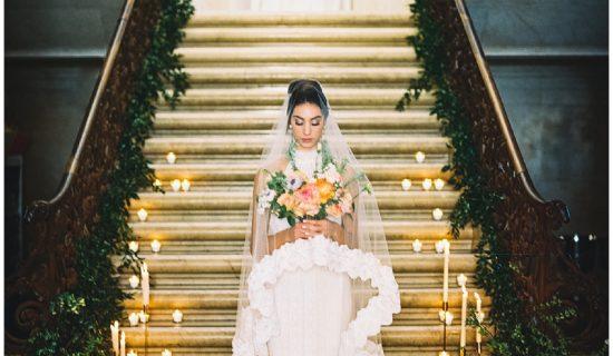 Jockey Hollow wedding bride on staircase