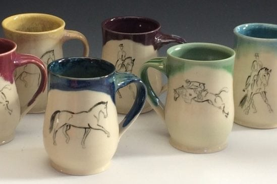 Handcrafted mugs with horse paintings