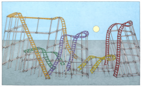 drawing of roller coasters from Speakeasy Art