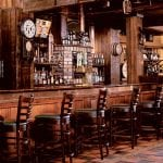 Wooden bar with stone walls