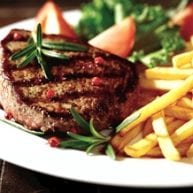 plate of steak and fries