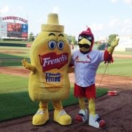 French's mustard and cardinal bird mascot