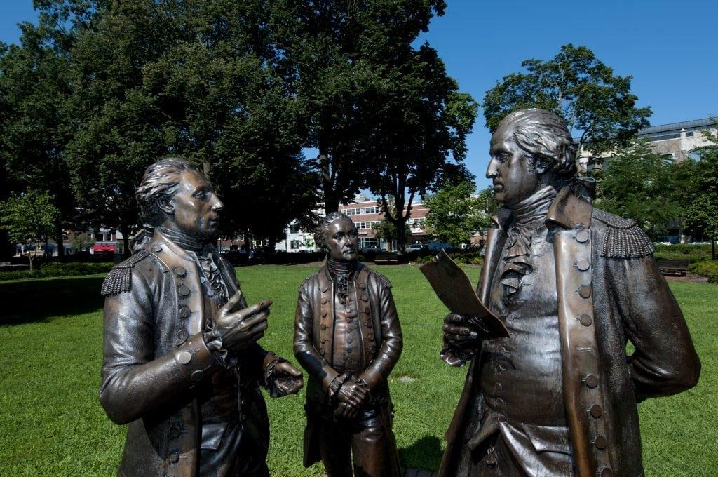 Morristown Green statue of three men