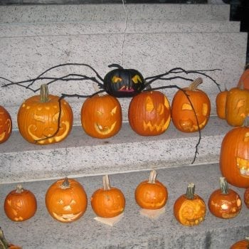 Various different jack-o-lantern pumpkins sitting on stone steps