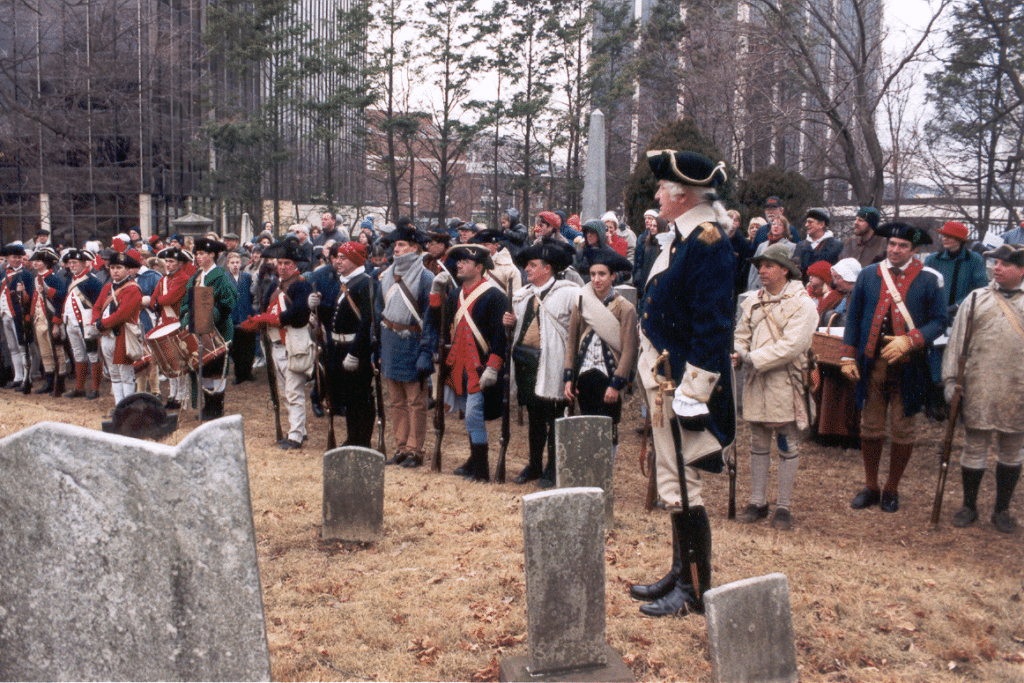 Civil war reenactment at Presbyterian Cemetery in Morristown