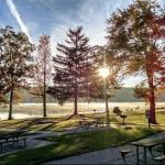 Picnic tables and trees at Lake Hopatcong