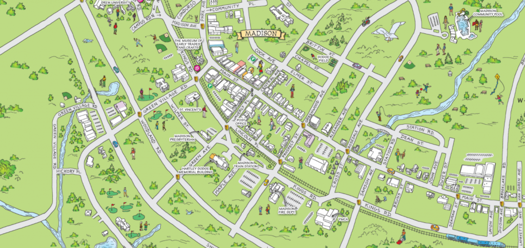 Illustrated map of Madison, New Jersey
