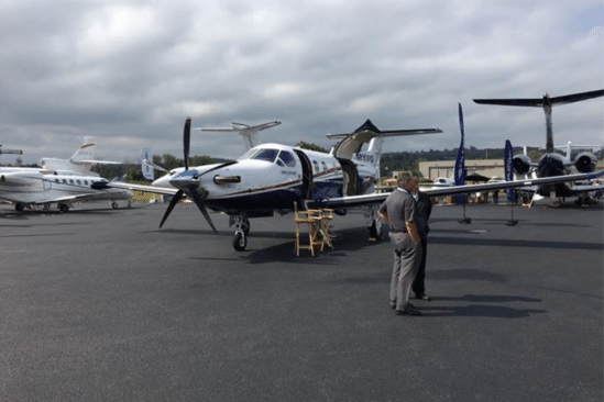 Docked airplanes at Morristown Municipal Airport