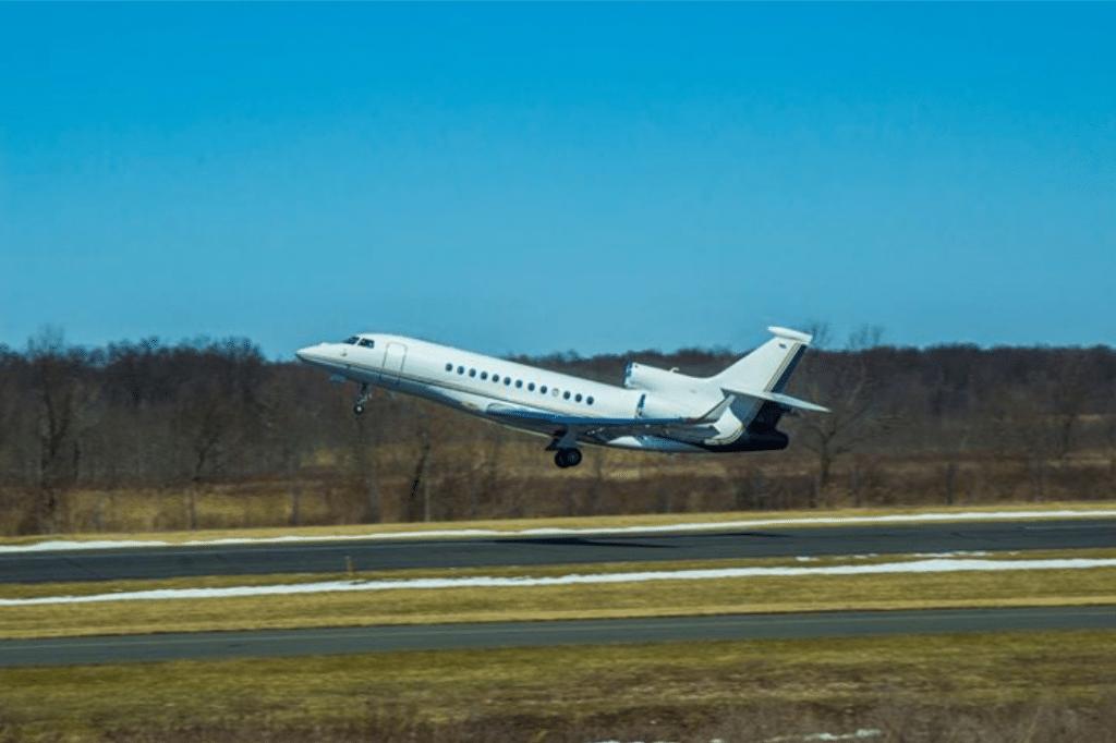 airplane taking off at Morristown Municipal Airport
