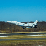 airplane taking off at Morristown Municipal Airport