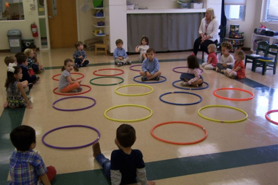 young children sitting in hula hoop in classroom
