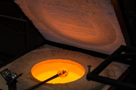 glass making over a fire