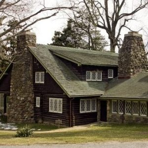 Ourside view of Stickley log house