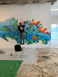 Graffiti artist Prox painting