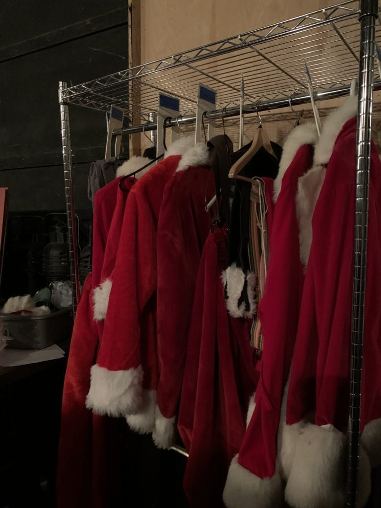 """""""Fake Santa's"""" costumes for the Elf production at the Growing Stage children's theater"""