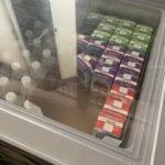Juice boxes in fridge